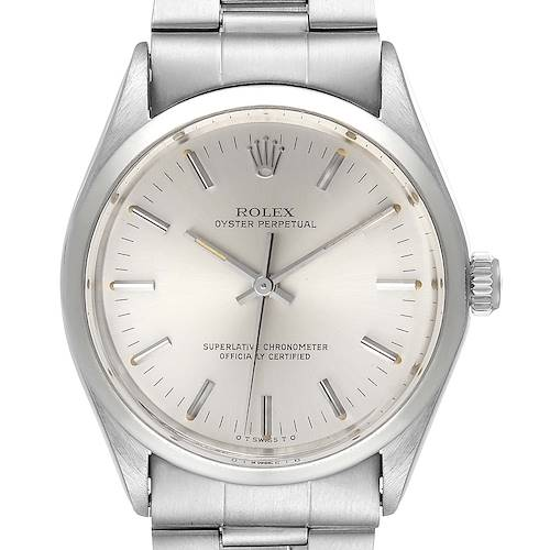Photo of Rolex Oyster Perpetual Silver Dial Vintage Steel Mens Watch 1002