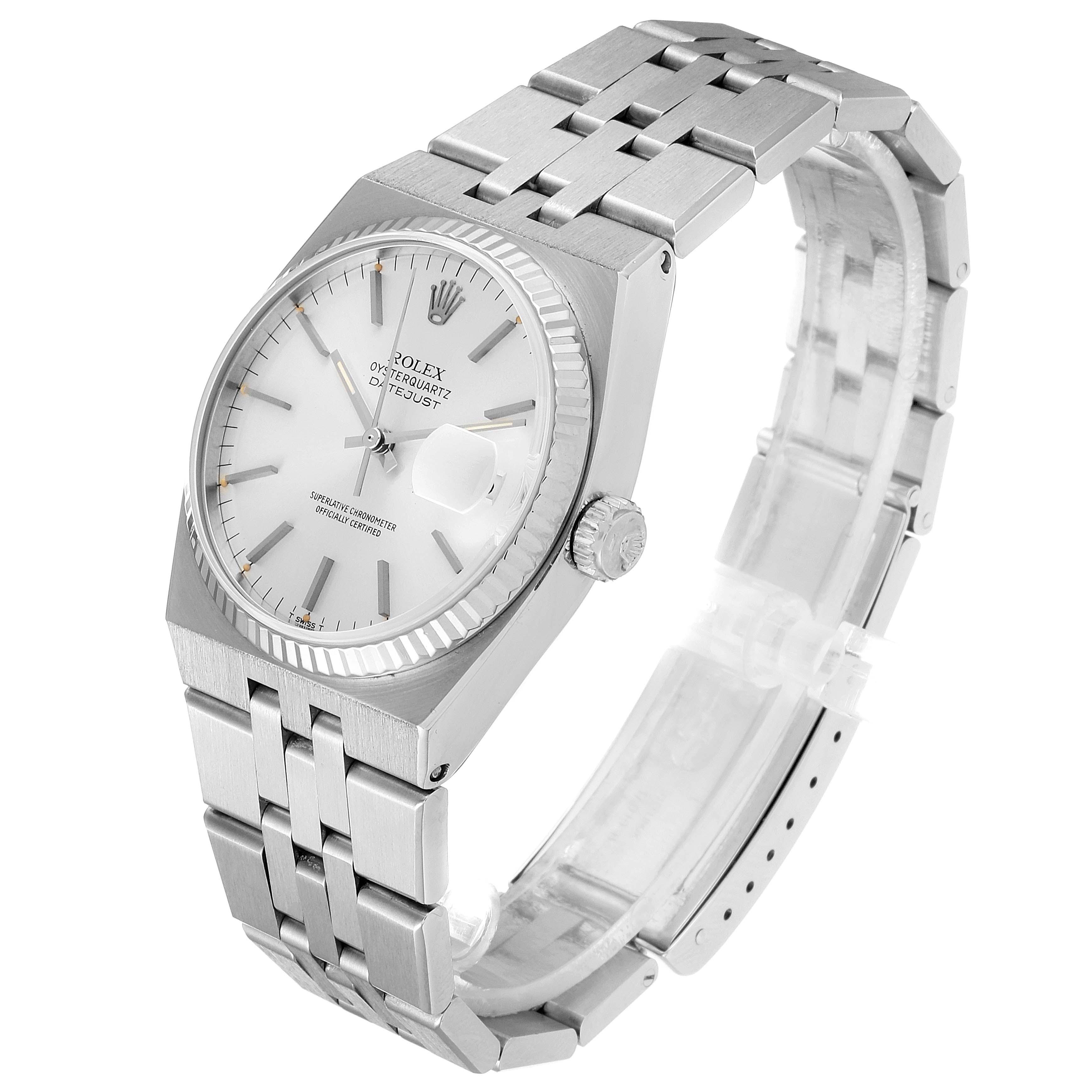 Rolex Oysterquartz Datejust Steel White Gold Fluted Bezel Watch 17014 SwissWatchExpo