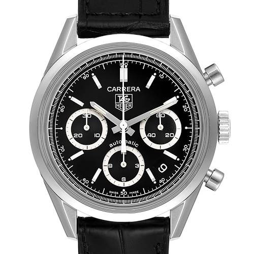 Photo of Tag Heuer Carrera Black Dial Chronograph Steel Mens Watch CV2113