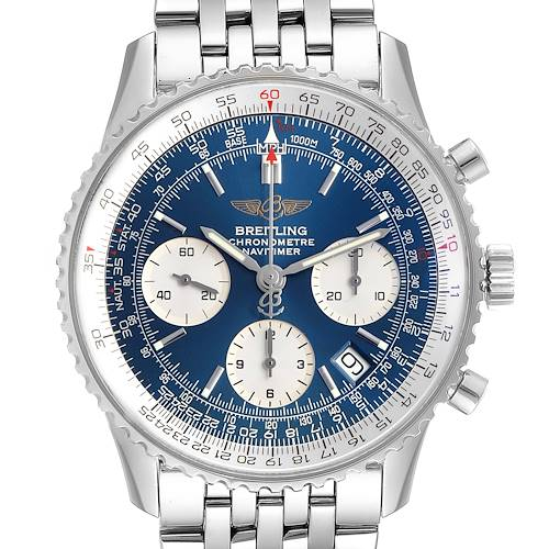 Breitling Navitimer 42mm Blue Dial Chronograph Steel Mens Watch A23322