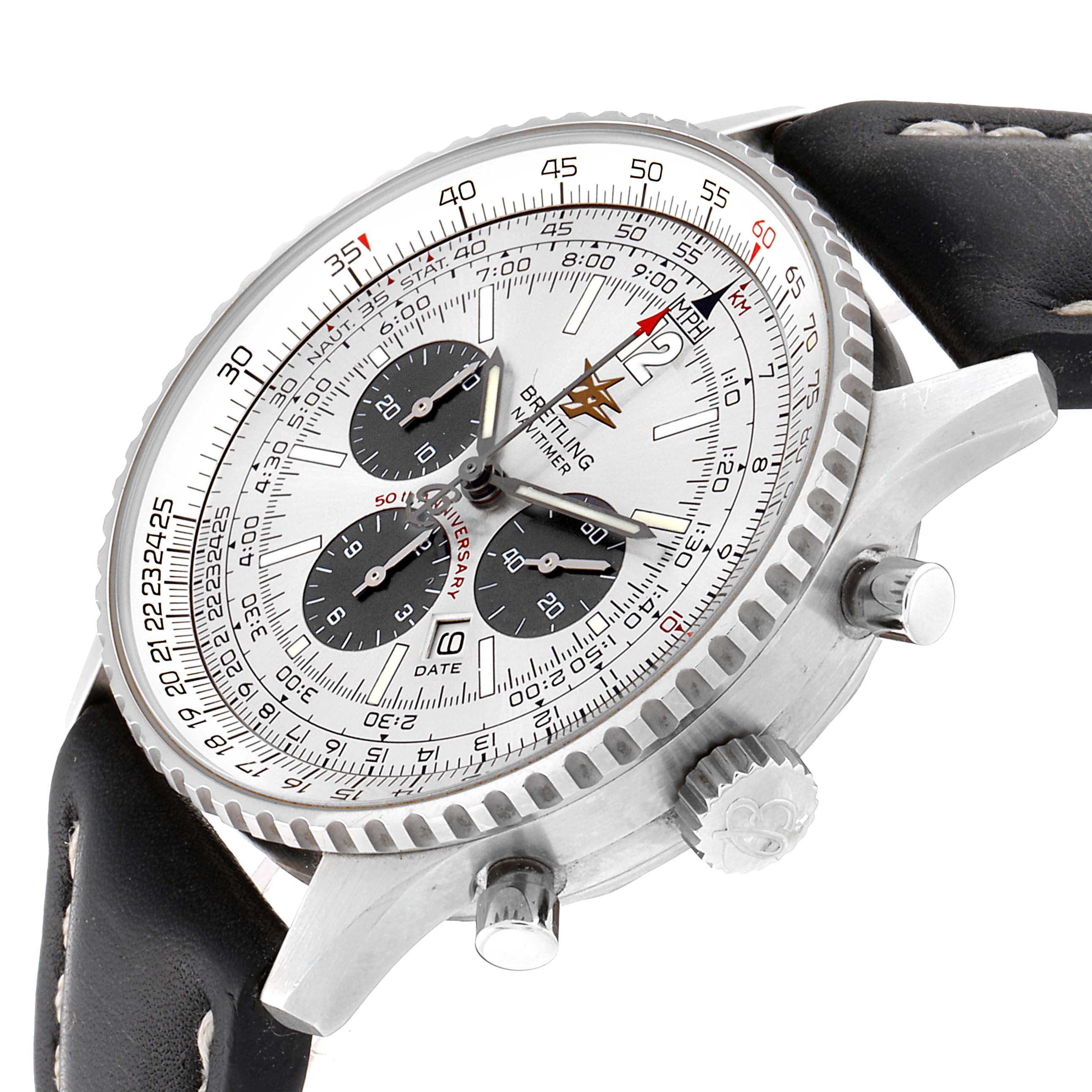 Breitling Navitimer 50th Anniversary Silver Dial Mens Watch A41322 SwissWatchExpo