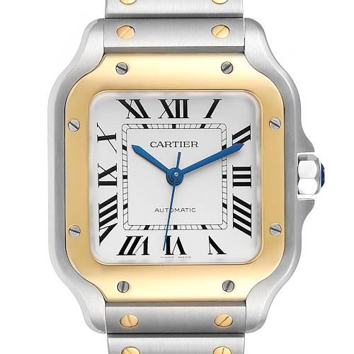 Photo of Cartier Santos Medium Steel Yellow Gold Mens Watch W2SA0007 Box Card