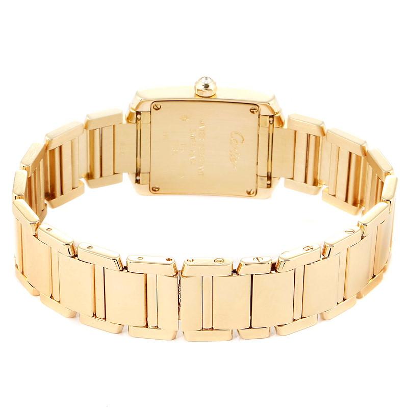 Cartier Tank Francaise Yellow Gold Rose Dial Diamond Ladies Watch 2403 SwissWatchExpo