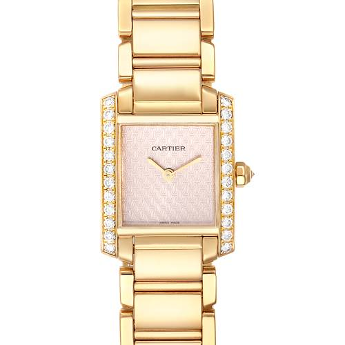 Photo of Cartier Tank Francaise Yellow Gold Rose Dial Diamond Ladies Watch 2403