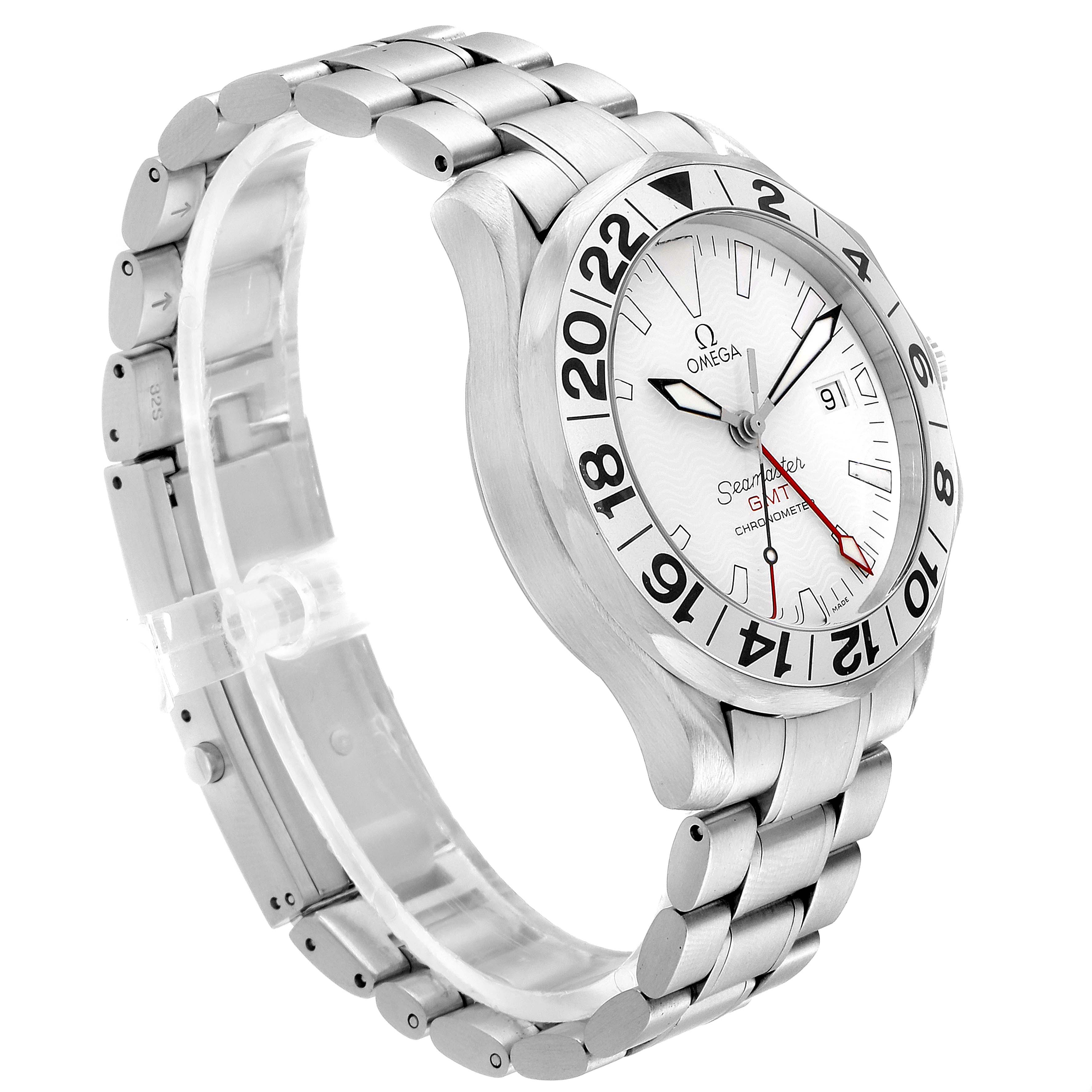 Omega Seamaster 300M GMT Great White Wave Dial Watch 2538.20.00 SwissWatchExpo