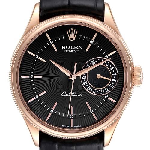 Photo of Rolex Cellini Date Everose Gold Black Dial Automatic Watch 50515 Box Card