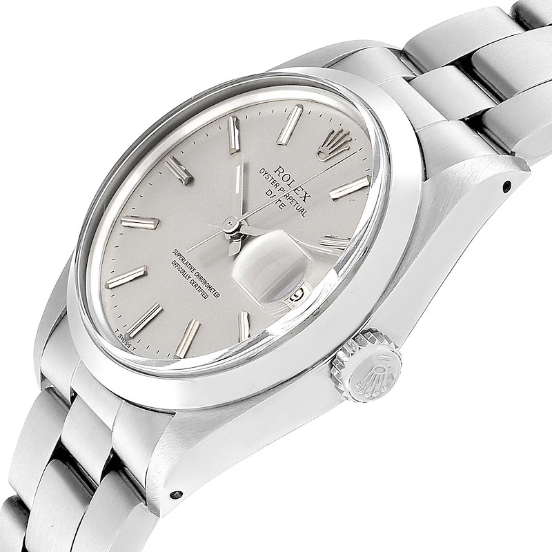 Rolex Date Silver Dial Domed Bezel Vintage Mens Watch 1500 Box Papers SwissWatchExpo