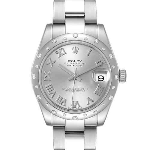 Photo of Rolex Datejust 31 Midsize Silver Dial Steel Diamond Watch 178344 Box Card