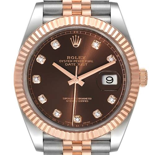 Photo of Rolex Datejust 41 Steel Everose Gold Diamond Dial Mens Watch 126331 Unworn