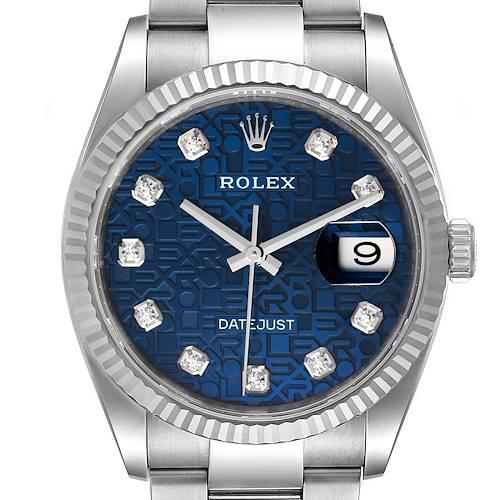 Photo of Rolex Datejust Steel White Gold Blue Diamond Dial Mens Watch 126234 Unworn