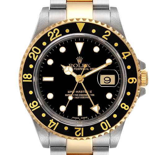 Photo of Rolex GMT Master II Yellow Gold Steel Oyster Bracelet Watch 16713 Box Papers