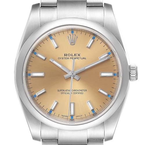 Photo of Rolex Oyster Perpetual 34mm White Grape Dial Steel Mens Watch 114200 Unworn