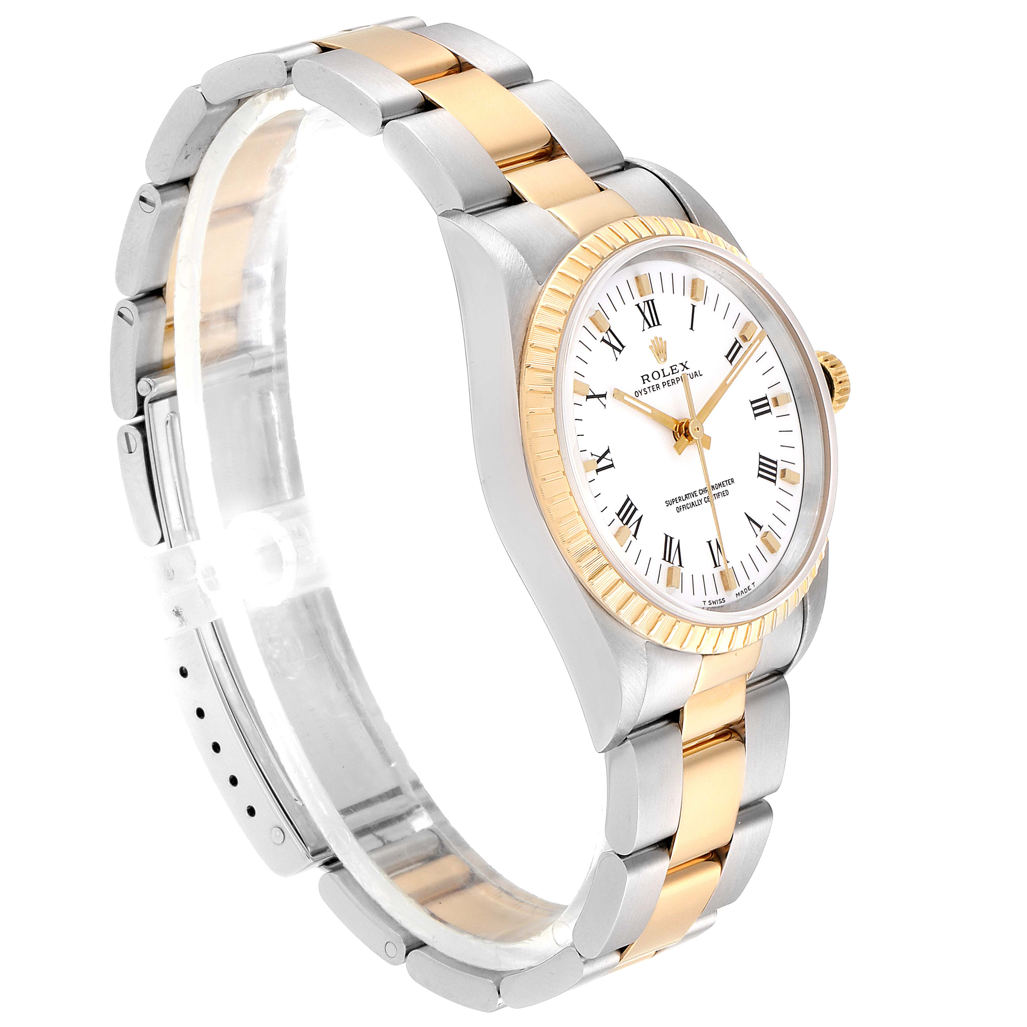Rolex Oyster Perpetual White Dial Steel Yellow Gold Mens Watch 14203 SwissWatchExpo