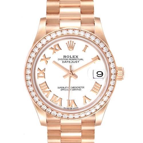Photo of Rolex President Datejust Midsize 31 Rose Gold Diamond Watch 278285 Unworn