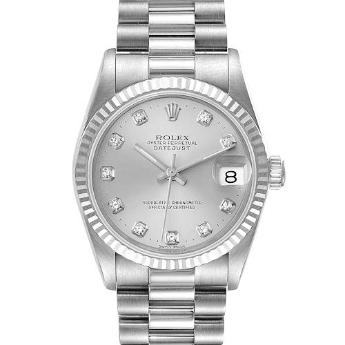 Photo of Rolex President Datejust Midsize White Gold Diamond Watch 68279 Box Papers
