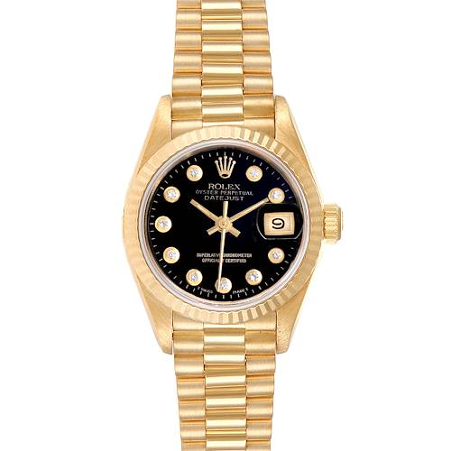 Photo of Rolex President Datejust Yellow Gold Black Diamond Dial Ladies Watch 69178