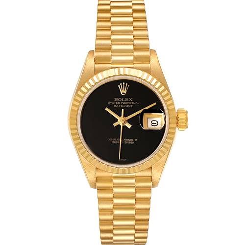 Photo of Rolex President Datejust Yellow Gold Black Onyx Dial Ladies Watch 69178