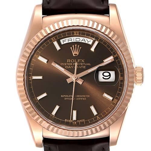 Photo of Rolex President Day-Date 18k Everose Gold Chocolate Mens Watch 118135 Unworn