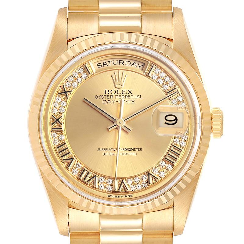 Rolex President Day-Date Yellow Gold Myriad Diamond Mens Watch 18238 SwissWatchExpo