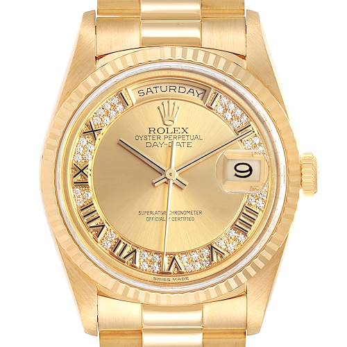 Rolex President Day-Date Yellow Gold Myriad Diamond Mens Watch 18238