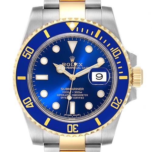 Photo of Rolex Submariner Steel 18K Yellow Gold Blue Dial Mens Watch 116613 Unworn