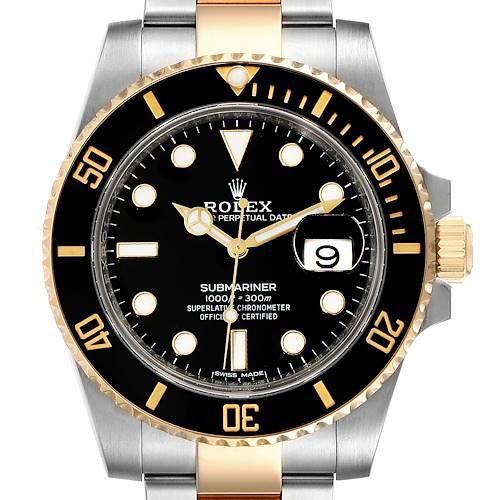 Photo of Rolex Submariner Steel Yellow Gold Black Dial Mens Watch 116613 Unworn