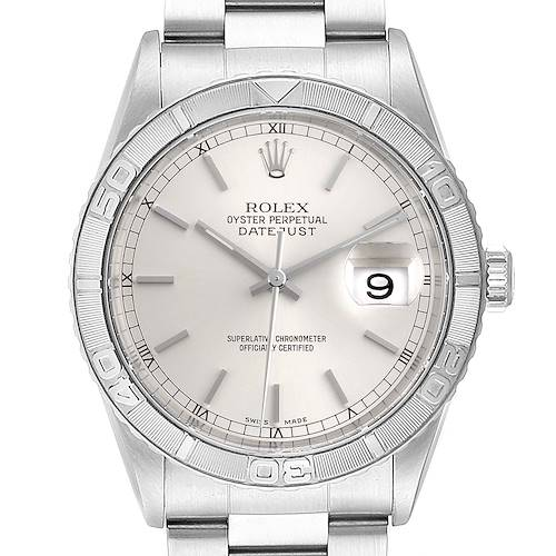 Photo of Rolex Turnograph Datejust Steel White Gold Silver Dial Mens Watch 16264