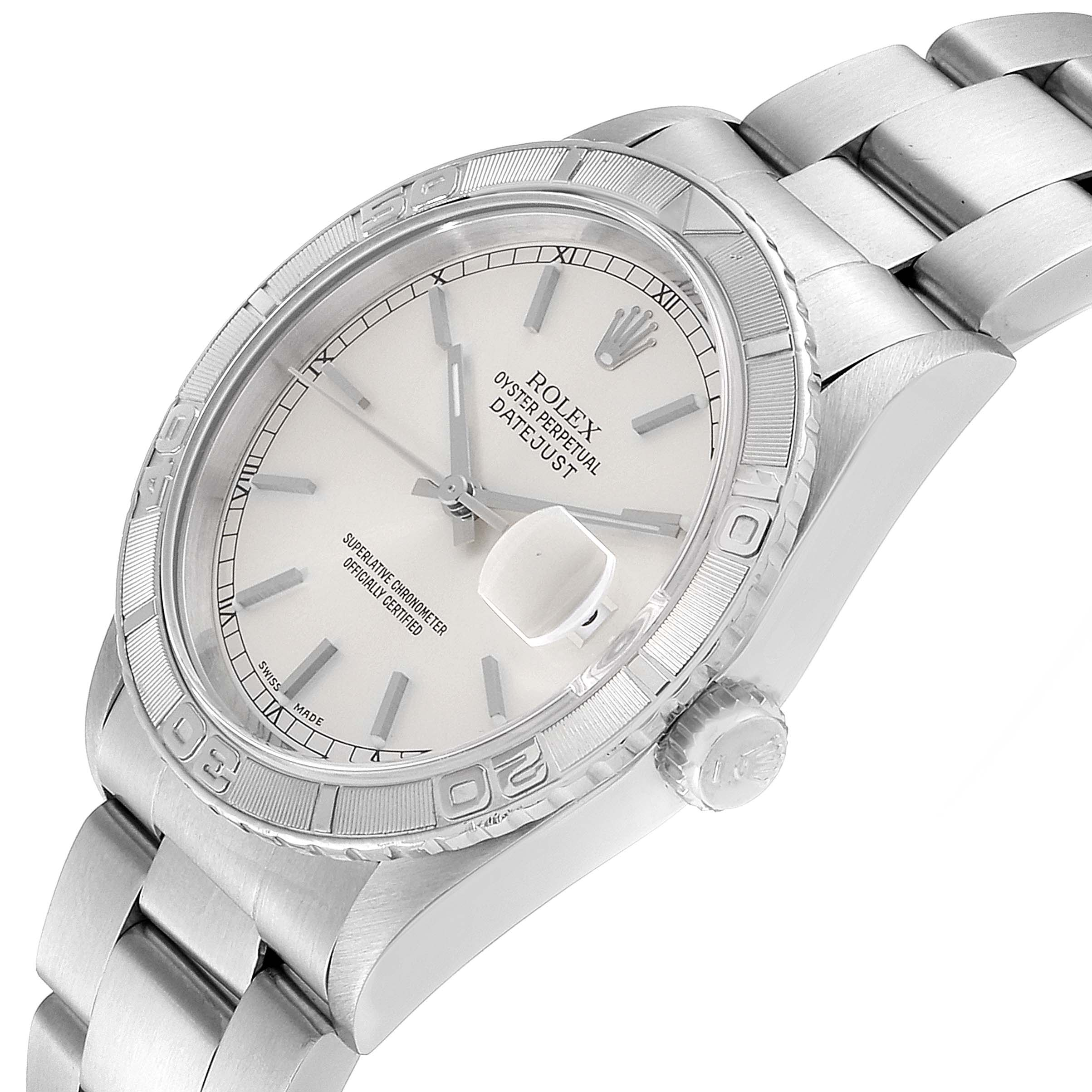 Rolex Turnograph Datejust Steel White Gold Silver Dial Mens Watch 16264 SwissWatchExpo