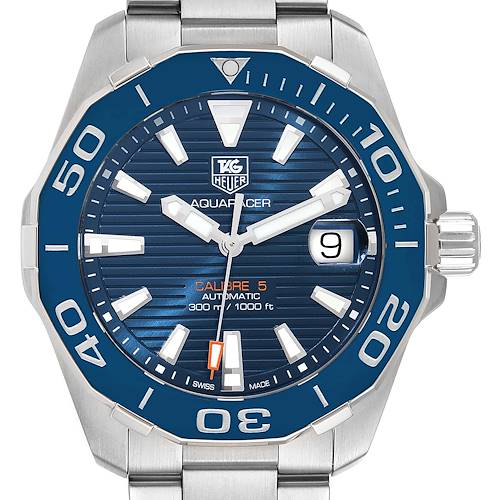 Photo of Tag Heuer Aquaracer Blue Dial Automatic Steel Mens Watch WAY211C Box Card