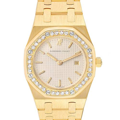 Photo of Audemars Piguet Royal Oak Yellow Gold Diamond Ladies Watch 56271BA Papers
