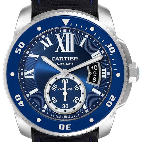 Photo of Cartier Calibre Diver Stainless Steel Blue Dial Watch WSCA0010 Box Papers