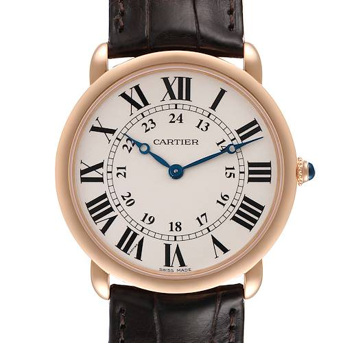 Photo of Cartier Ronde Louis Rose Gold Silver Dial Mens Watch W6800251 Box Papers