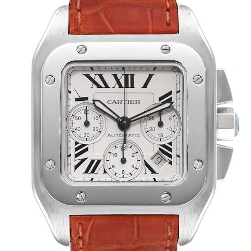 Photo of Cartier Santos 100 XL Silver Dial Chronograph Mens Watch W20090X8 Box Papers