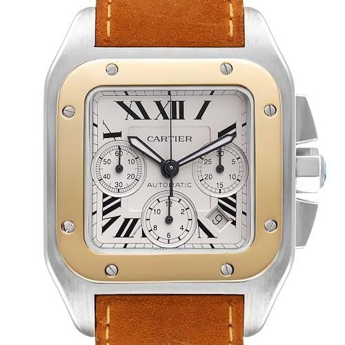 Photo of Cartier Santos 100 XL Silver Dial Chronograph Steel Mens Watch W20090X8