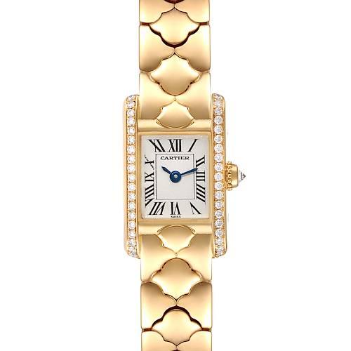 Photo of Cartier Tank Classic Mini 18k Yellow Gold Diamond Silver Dial Ladies Watch 1361