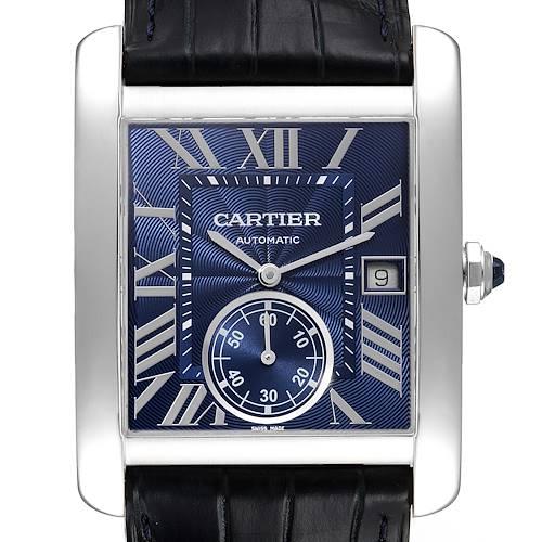 Photo of Cartier Tank MC Blue Dial Automatic Steel Mens Watch WSTA0010 Unworn