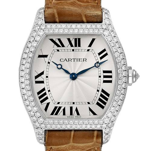 Photo of NOT FOR SALE -- Cartier Tortue 18K White Gold Diamond Mens Watch WA504351 -- PARTIAL PAYMENT