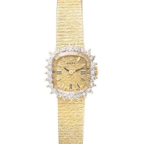 Photo of Rolex 14k Yellow Gold Diamond Bezel Vintage Cocktail Ladies Watch