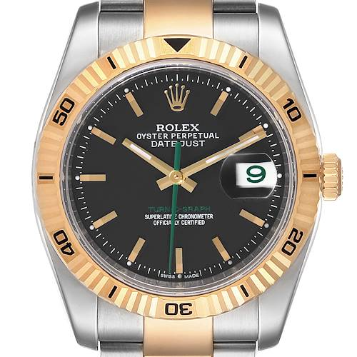 Photo of Rolex Turnograph Datejust Steel Yellow Gold Green Hand LE Watch 116263 Box Card
