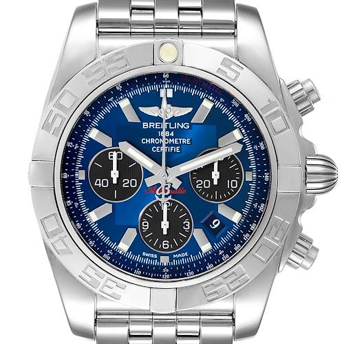 Photo of Breitling Chronomat 01 Blue Dial Steel Mens Watch AB0110