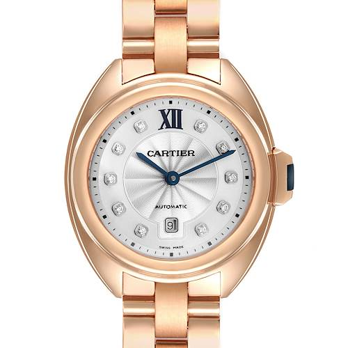 Photo of Cartier Cle 18K Rose Gold Automatic Diamond Ladies Watch WJCL0033