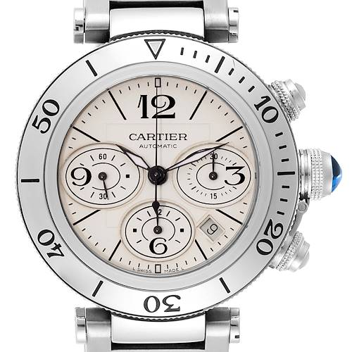 Photo of Cartier Pasha Seatimer Chrono Stainless Steel Mens Watch W31089M7