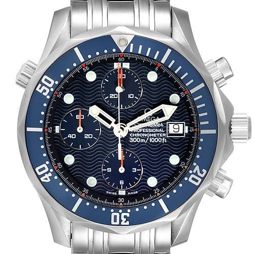 Photo of Omega Seamaster Bond Chrono Blue Wave Dial Mens Watch 2599.80.00 Box Card