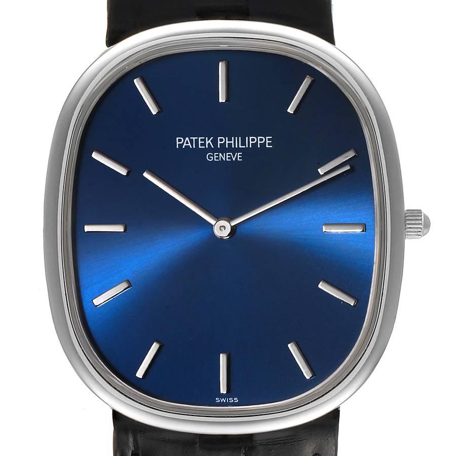 Patek Philippe Golden Ellipse Grande Taille Platinum Blue Dial Watch 5738 SwissWatchExpo