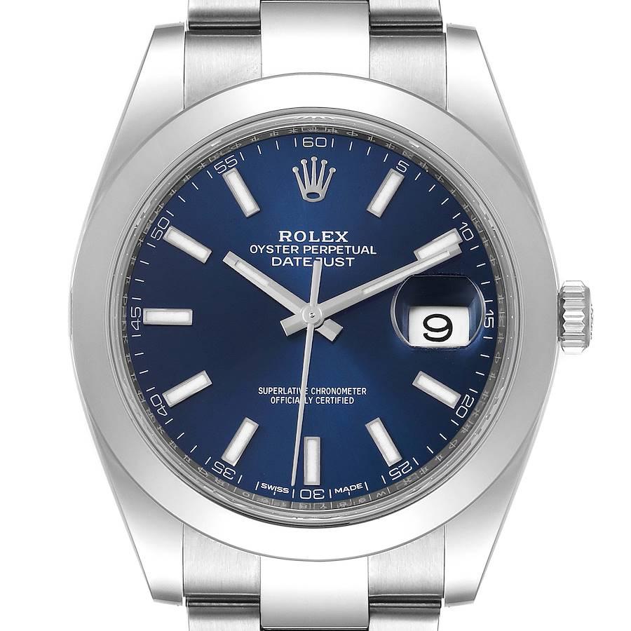 Rolex Datejust 41 Blue Dial Oyster Bracelet Steel Watch 126300 Box Card SwissWatchExpo