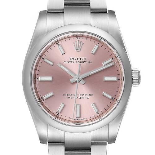 Photo of Rolex Oyster Perpetual 34mm Pink Dial Steel Unisex Watch 124200 Unworn