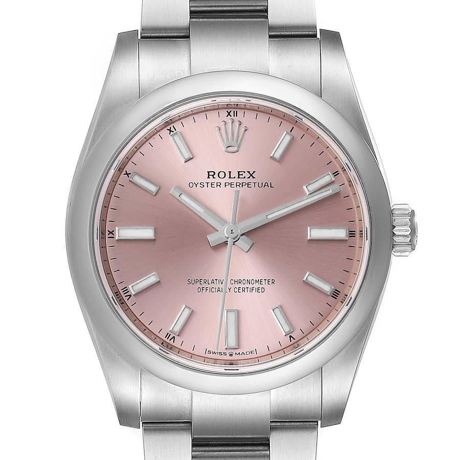 Rolex Oyster Perpetual 34mm Pink Dial Steel Unisex Watch 124200 Unworn SwissWatchExpo