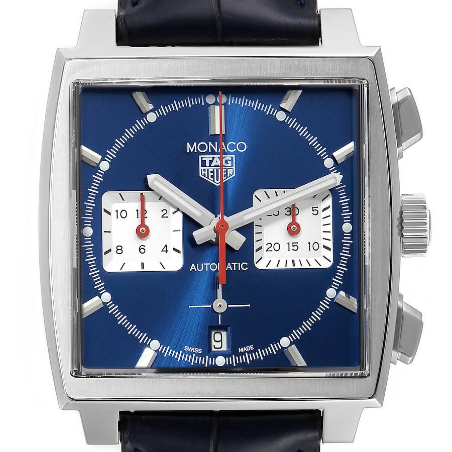 Tag Heuer Monaco Calibre 02 Blue Dial Steel Mens Watch CBL2111 Unworn SwissWatchExpo