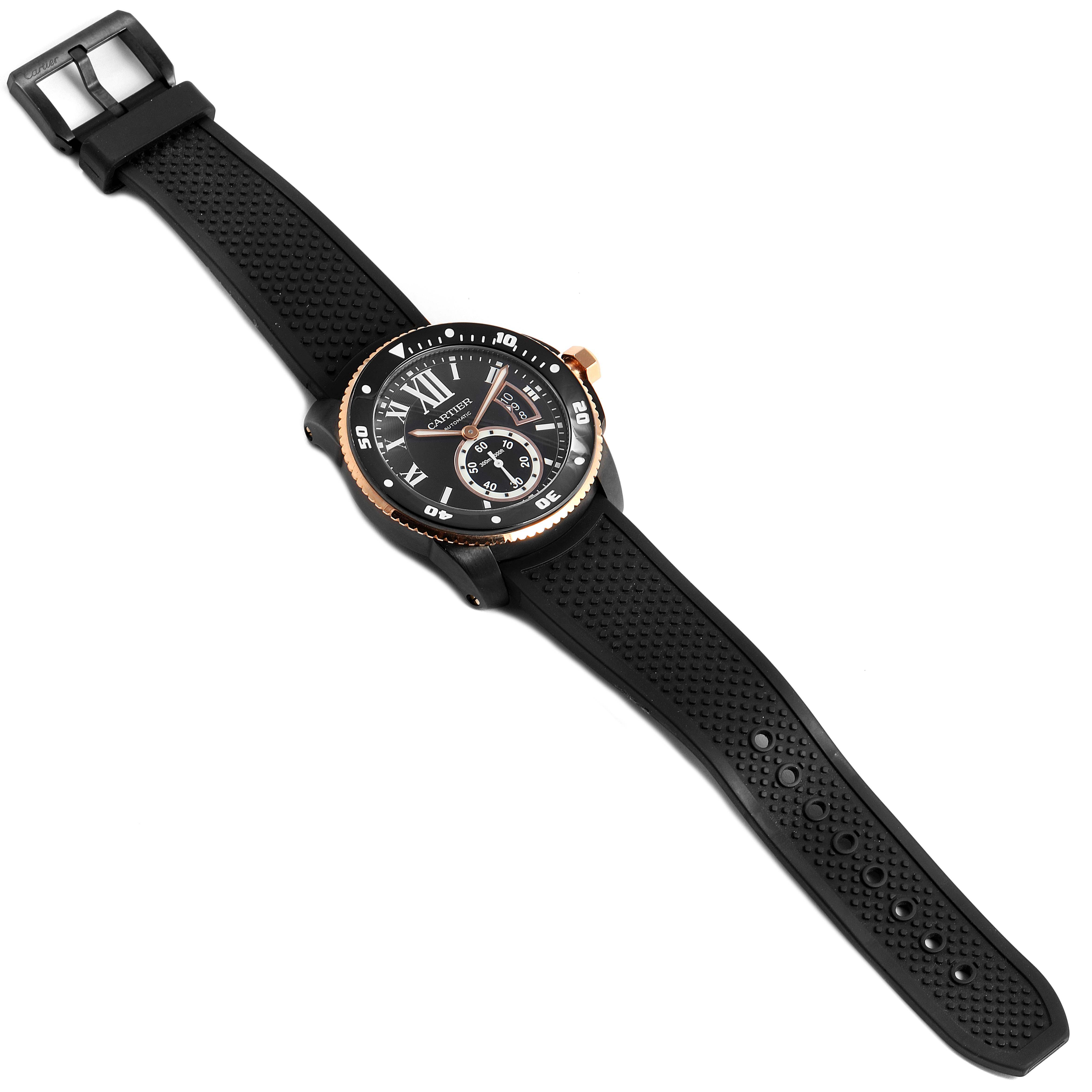 Cartier Calibre Diver Carbon Rose Gold Rubber Mens Watch W2CA0004 Box Papers SwissWatchExpo