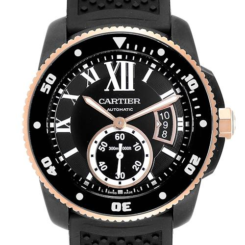 Cartier Calibre Diver Carbon Rose Gold Rubber Mens Watch W2CA0004 Box Papers
